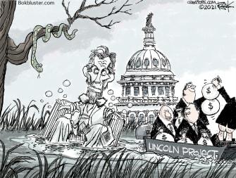 Political Cartoon U.S. lincoln project scandal