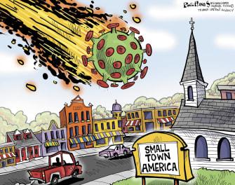 Editorial Cartoon U.S. COVID small town America