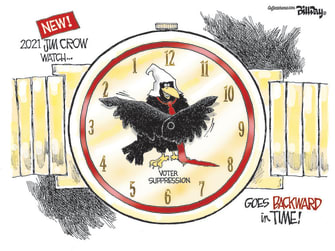 Editorial Cartoon U.S. jim crow georgia voting law