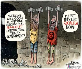 Political Cartoon U.S. Americans receive check coronavirus bailout socialism Cuba Che