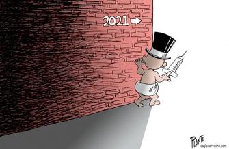 Editorial Cartoon U.S. 2020 New Year 2021 Coronavirus Vaccine