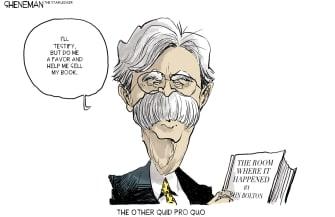 Political Cartoon U.S. John Bolton Quid Pro Quo