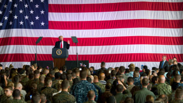 President Trump speaks at a Navy base in Italy