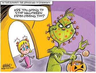 Editorial Cartoon U.S. Grinch Halloween COVID