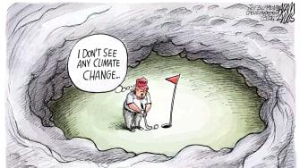 Political Cartoon U.S. Trump Hurricane Dorian climate change denial