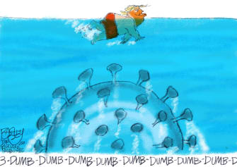 Political Cartoon U.S. Trump Coronavirus Jaws underwater swimming horror