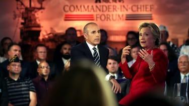 Matt Lauer interviewing Hillary Clinton in 2016.