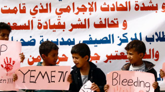 Yemeni children protest a Saudi coalition airstrike that killed dozens of people on a school bus.