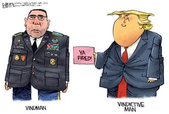 Political Cartoon U.S. Vindman testimony fire Trump vindictive