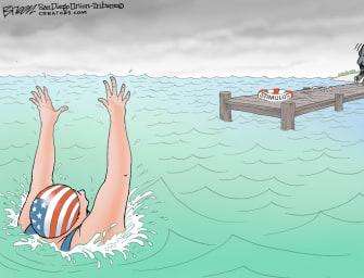 Political Cartoon U.S. Covid relief congress lifeguard