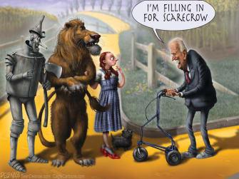 Political Cartoon U.S. Joe Biden Wizard of Oz