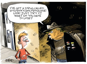 Political Cartoon U.S. Trump pushes unregulated drugs no clinical trials not approved