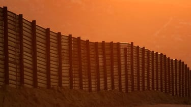A portion of the U.S.-Mexico border wall.