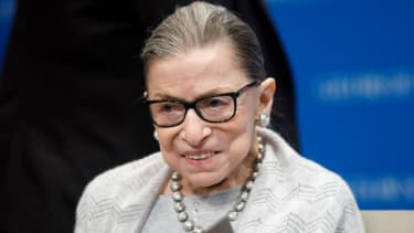 Supreme Court Justice Ruth Bader Ginsburg delivers remarks at the Georgetown Law Center on September 12, 2019, in Washington, DC. Justice Ginsburg spoke to over 300 attendees about the Suprem