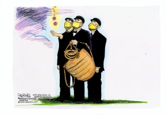 Editorial Cartoon U.S. baseball return coronavirus rockwell