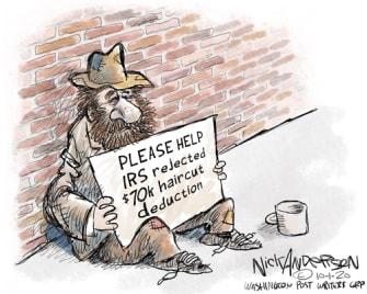 Political Cartoon U.S. Trump taxes haircut deduction