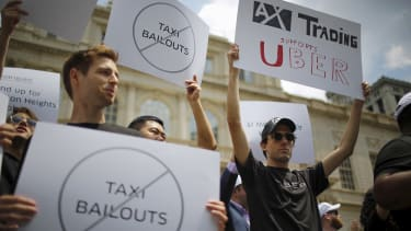 Uber supporters rally in New York City