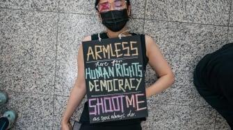 Protester at Hong Kong International Airport.