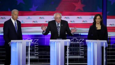 Joe Biden, Bernie Sanders, and Kamala Harris.