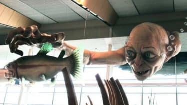 """A giant sculpture of Gollum, a character from """"The Hobbit,"""" welcomes visitors at the Wellington Airport in New Zealand."""