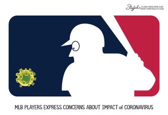 Editorial Cartoon U.S. MLB COVID-19 Coronavirus players policy impact