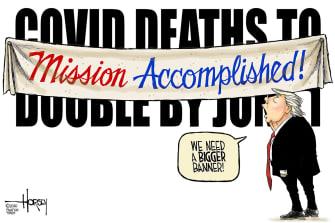 Political Cartoon U.S. Trump mission accomplished coronavirus deaths