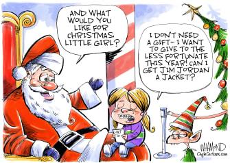 Political Cartoon U.S. Jim Jordan Santa Christmas