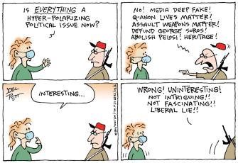 Political Cartoon U.S. liberal conservative divide