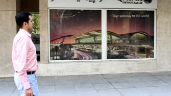 A Qatar Airlines storefront.