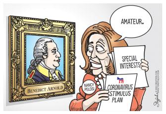 Political Cartoon U.S. Pelosi special interests stimulus plan amateur Arnold