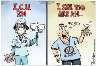 Editorial Cartoon U.S. ICU COVID