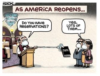 Editorial Cartoon U.S. Restaurant reopening coronavirus reservations