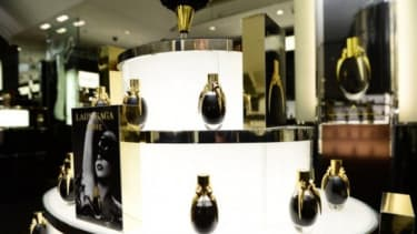Lady Gaga's debut fragrance on display at Harrods, London.