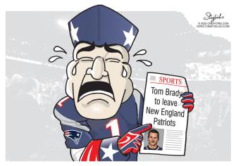 Editorial Cartoon U.S. Tom Brady NFL Patriots Boston trade leaving