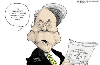 Editorial Cartoon U.S. Wayne LaPierre NRA lawsuits