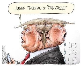 Political Cartoon U.S. Trump Trudeau Two Faced