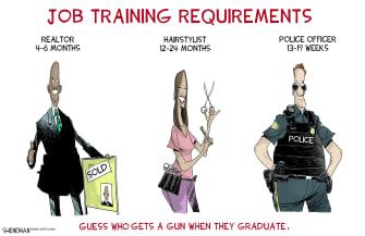 Editorial Cartoon U.S. police officers guns