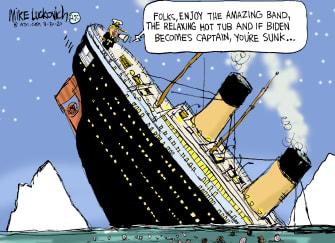 Political Cartoon U.S. Trump Biden Titanic
