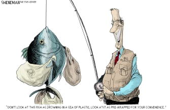Editorial Cartoon U.S. Big plastic pollution fishing industry climate change