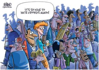 Editorial Cartoon U.S. covid masks normalcy crowds
