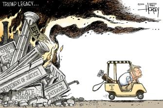 Political Cartoon U.S. Trump legacy destruction