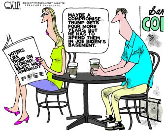 Political Cartoon U.S. Trump Biden economy 2020