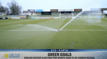 The soccer club collects all of its water to reuse.