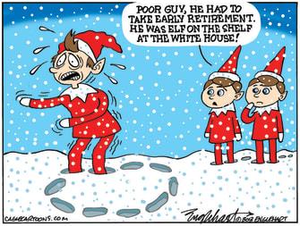 Political Cartoon U.S. Elf on the shelf Trump