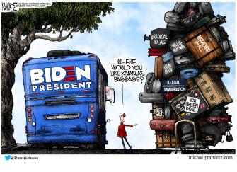 Political Cartoon U.S. Joe Biden Vice President Kamala Harris BaggageGreenNew Deal Medicare for All