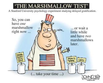 Editorial Cartoon U.S. covid vaccination marshmallow test