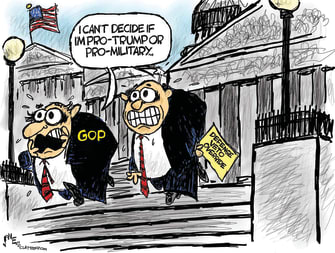 Political Cartoon U.S. GOP Republicans Defense Bill Veto