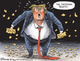 Political Cartoon U.S. Trump Impeachment Defense Ripped Apart Constitution