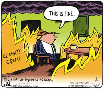Political Cartoon U.S. Trump This is Fine dog Climate KC Green