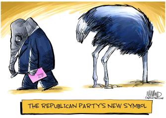 Political Cartoon U.S. GOP Trump impeachment evidence Ostrich symbol